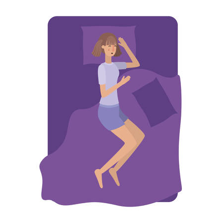 young woman in bed avatar character vector illustration desing
