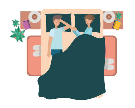 young couple in bed avatar character vector illustration desing