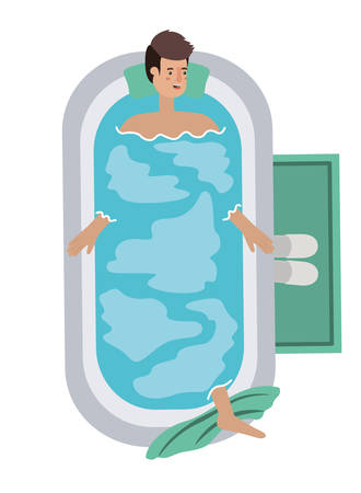 young man in bathtub avatar character vector illustration design 向量圖像