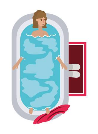 young woman in bathtub avatar character vector illustration design Archivio Fotografico - 108965846
