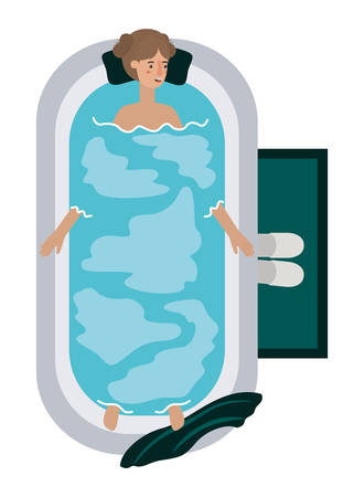 young woman in bathtub avatar character vector illustration design Archivio Fotografico - 108965863