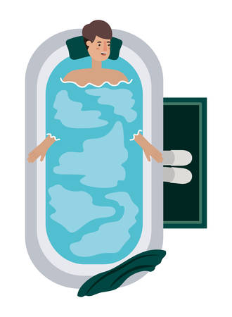 young man in bathtub avatar character vector illustration design 矢量图像