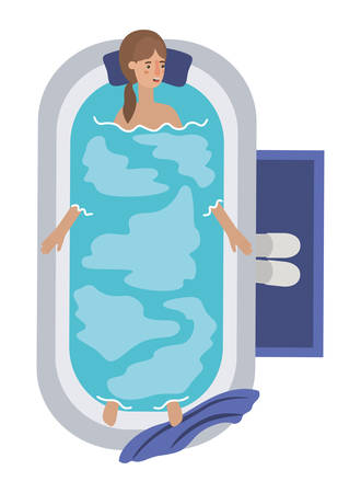 young woman in bathtub avatar character vector illustration design Archivio Fotografico - 108965866
