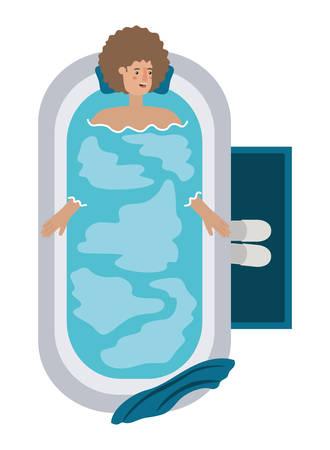 young man in bathtub avatar character vector illustration design Archivio Fotografico - 108965931