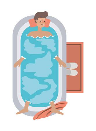 young man in bathtub avatar character vector illustration design Archivio Fotografico - 108965632