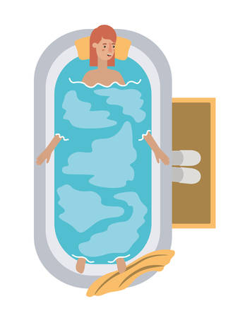 young woman in bathtub avatar character vector illustration design 矢量图像