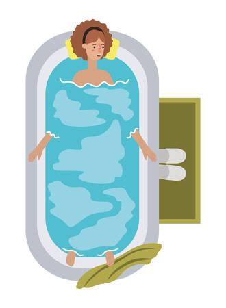 young woman in bathtub avatar character vector illustration design Archivio Fotografico - 108965661