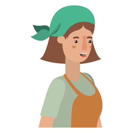 woman gardener with apron avatar character vector illustration desing