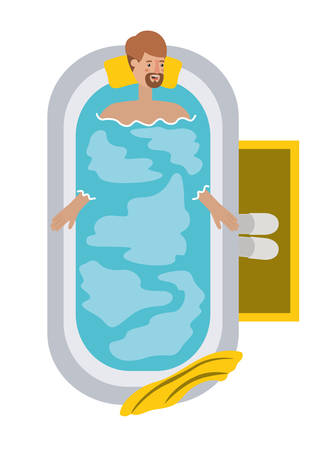 young man in bathtub avatar character vector illustration design Illustration