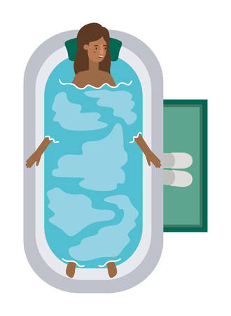 young woman afro in bathtub avatar character vector illustration design Archivio Fotografico - 109029828
