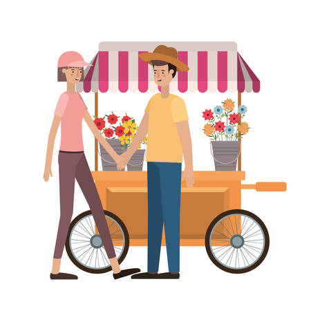 couple in store kiosk with flowers avatar character vector illustration design