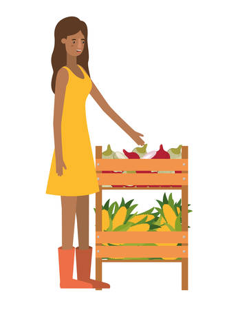 woman with wooden basket with tag avatar character vector illustration design