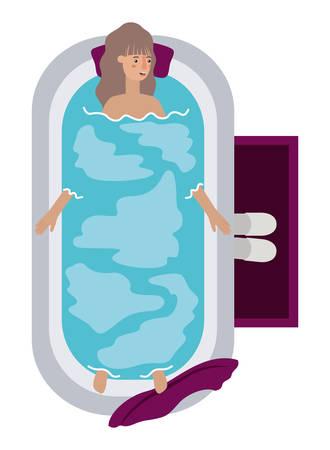 young woman in bathtub avatar character vector illustration desing Archivio Fotografico - 108967253