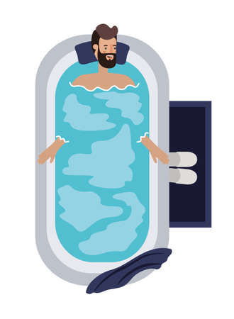 young man in bathtub avatar character vector illustration desing Archivio Fotografico - 108967274