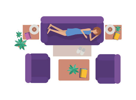 aerial view of woman resting avatar character vector illustration design