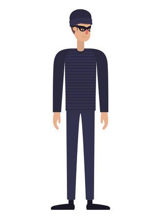 thief man avatar character vector illustration desing Stock Illustratie