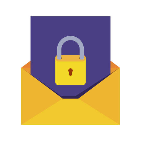 open letter with padlock isolated icons vector illustration desing