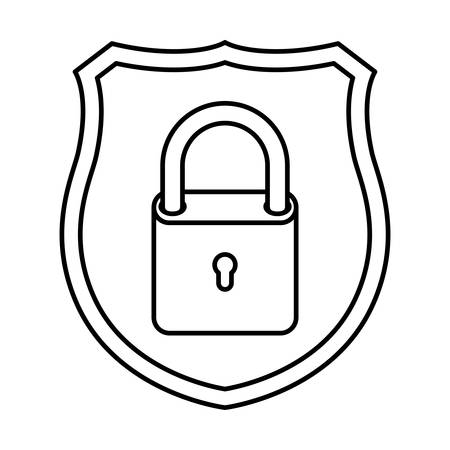 shield with padlock isolated icons vector illustration design
