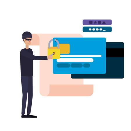hacker stealing information avatar character vector illustration design