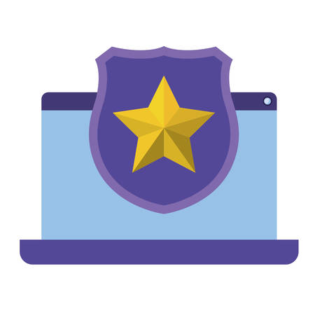 computer screen with shield isolated icon vector illustration desing Illustration