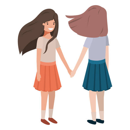 friendly teenagers girls characters vector illustration design
