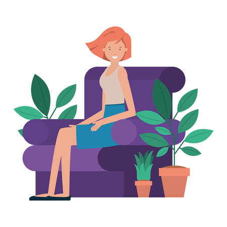 young woman sitting in couch avatar character vector illustration design