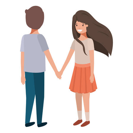friendly teenagers couple characters vector illustration design