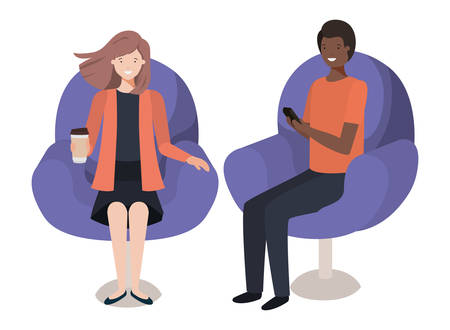 young couple using smartphone in the sofa vector illustration design