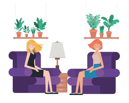 young women in living room avatar character