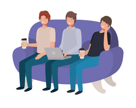 men sitting on the sofa avatar character vector illustration design Ilustração