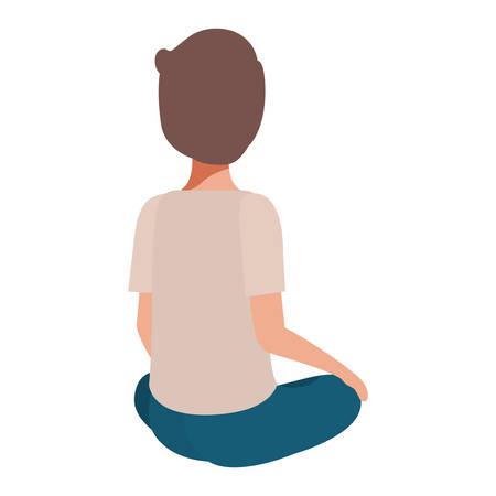 teenager boy sitting on his back character vector illustration design Foto de archivo - 109201731