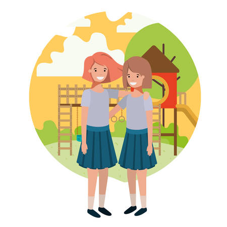 friendly teenagers girls at the amusement park vector illustration design 向量圖像