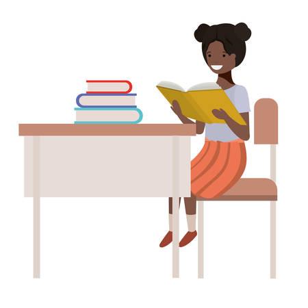 young student black girl sitting in school desk vector illustration design