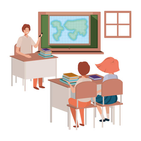 teacher in classroom with students avatar character vector illustration design