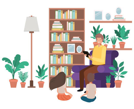 man with children in living room avatar character vector illustration desing
