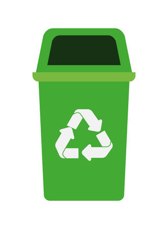 green recycling basket avatar character vector illustration design