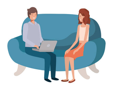 young couple using laptop in the sofa avatar character vector illustration desing