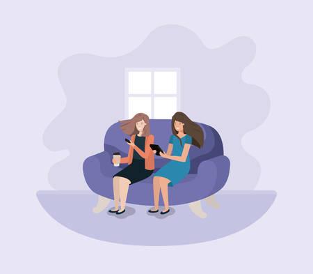 couple of women in living room using technology vector illustration