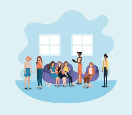 group of women in living room using technology vector illustration