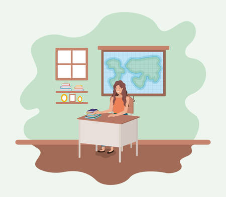female teacher in the geography class vector illustration design