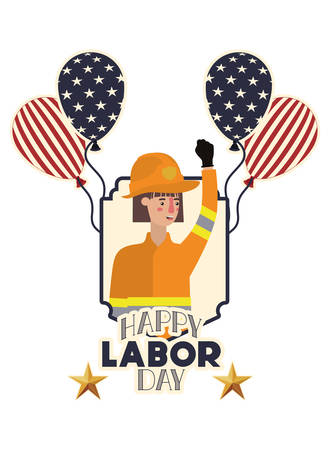 woman firefighter celebrating the labor day avatar character vector illustration desing
