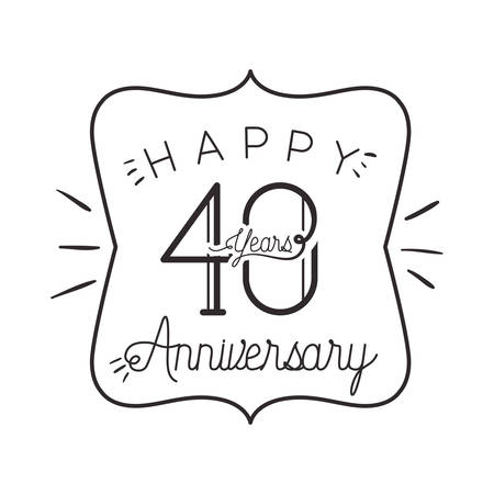 number 40 for anniversary celebration card icon vector illustration desing
