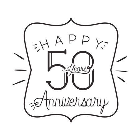 Número 50 para diseño de ilustración de vector de icono de tarjeta de celebración de aniversario Ilustración de vector