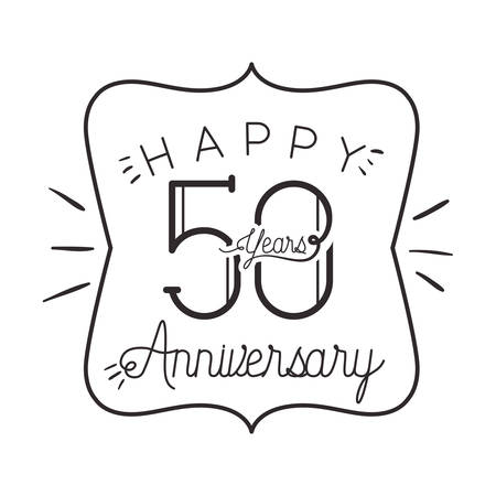 number 50 for anniversary celebration card icon vector illustration desing Vector Illustration