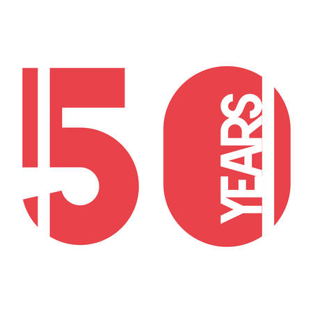 number 50 for anniversary celebration card icon vector illustration desing