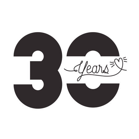 number 30 for anniversary celebration card icon vector illustration desing