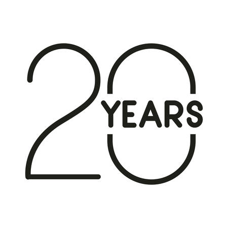 número 20 para el diseño de ilustración de vector de icono de tarjeta de celebración de aniversario Ilustración de vector