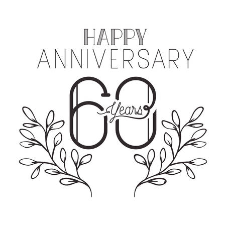 number 60 for anniversary celebration card icon vector illustration desing