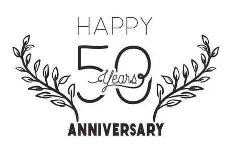 numéro 50 pour anniversaire carte icône vector illustration desing Vecteurs