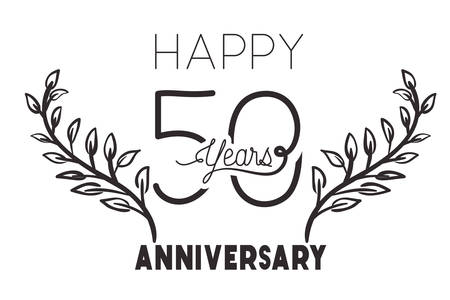 number 50 for anniversary celebration card icon vector illustration desing 向量圖像